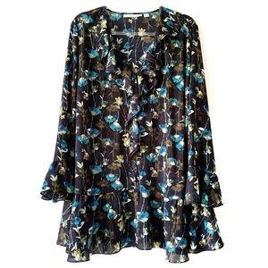 Sejour Blue Floral Ruffled V-Neck Blouse Plus 16W